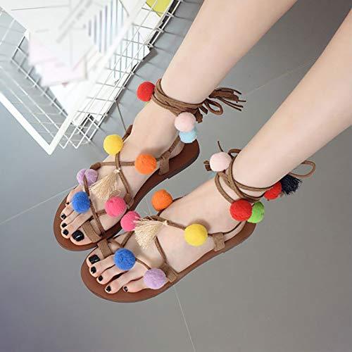 Frauen Flache Schnürsandalen Lässige Flip Flops Römische Sandalen Mit Pompons Und Quasten Sommermode Schuhe Gladiator Sandalen,Bunt,EU35