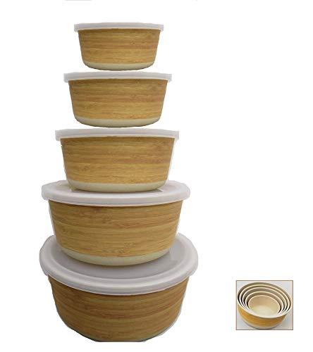 Tupper de Bambu ♻ 5 Tuppers de Fibra de Bambú Ecologicos - Material Organico, Reciclable, Biodegradable - Apto Lavavajillas - Resistente y Ligero - Eco, Bio, sin BPA ni Plastico - Apilables - Madera