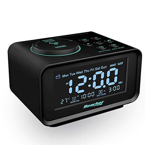 Radiowecker,REACHER FM Digitaler Wecker mit USB-Anschlüssen,Dual-Alarm,6 Wecker Geräusche,0-100% Dimmer,Schlummerfunktion, Thermometer Anzeige, kleine Größe für Schlafzimmer (Schwarz)