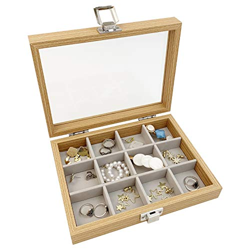 Joyero de madera con tapa de cristal y 12 compartimentos, organizador para...