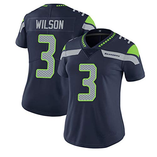 # 3 Wilson Seahawks Damen Rugby Trikot, Damen Schnelltrocknendes Hemd Training T-Shirts Mesh Kurzarm, Fitness Polyester Faser Sweatshirt (XS-XL)-Blue-XS