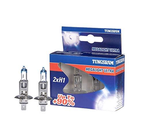 Tungsram Lampe H1 MEGALIGHT Ultra +90-Lampadin 12V High Helligkeit für Projektor - Kit 2