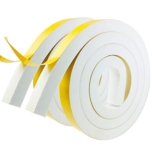 Weather Stripping Door Seal Strip,Foam Insulation Tape Self Adhesive for Doors and Windows.Soundproof Air Conditioning Seal Strip.Weather Stripping Tape. (W:1In X T:4/5In X L:6.67Ft X 2 Roll)