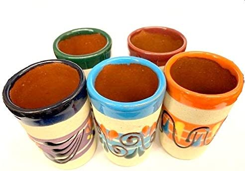 new arrival Made In Mexico Hand Painted Pottery Barro Clay Tequila Shots new arrival Glasses Set of 5 2021 Assorted - Vaso Tequilero sale