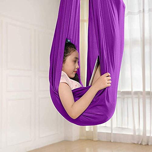zyy Indoor Therapy Swing For Kids And Teens Sensory Autism ADHD SPD Calming Effect Children Needs Cuddle Hammock Adjustable Aerial Yoga (Size : 100x280cm/39x110in)