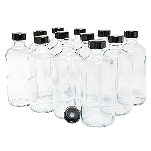 (Pack of 12) 8 oz. Clear Boston Round with Black Poly Cone Cap