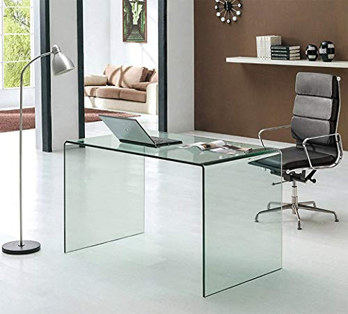 Neos Modern Furniture Bent Glass Computer Desk Contemporary Rectangular Shaped PC Laptop Workstation Study Table Home Office Writing for Small Spaces, Better Than Acrylic or Lucite, 50' L, Clear