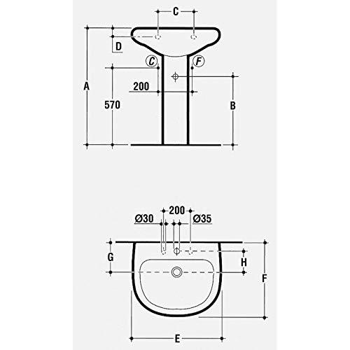 Ideal standard tesi classic t001201 colonna per lavabo bianca.