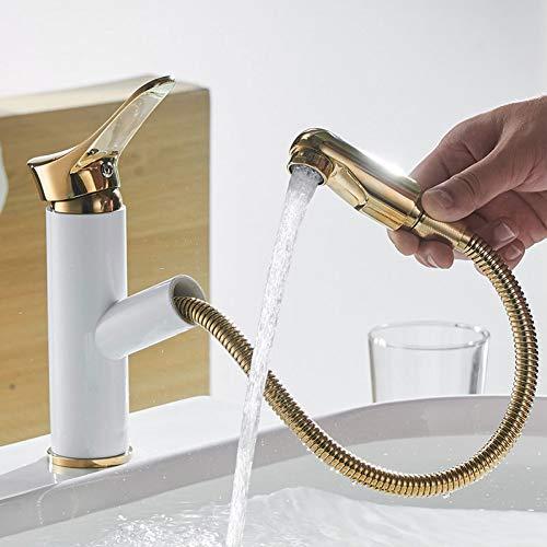 YHSGY Waschtischarmaturen Badezimmer Wasserhahn Mit Herausziehbarem Waschbeckenhahn Und Herausziehbarer Waschtisch-Mischbatterie