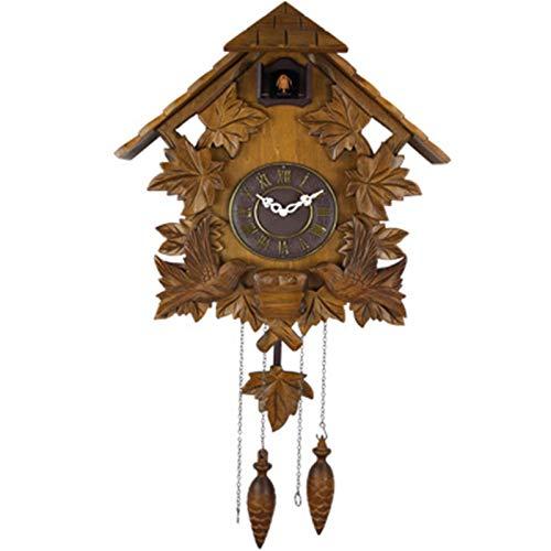 yaunli Reloj de Cuco Cuco Reloj casa Reloj péndulo pájaro casa Pared Arte hogar Sala de Estar Cocina decoración de Oficina Reloj de Cuco Hecho a Mano (Color : Marrón, Size : 48x41x18CM)