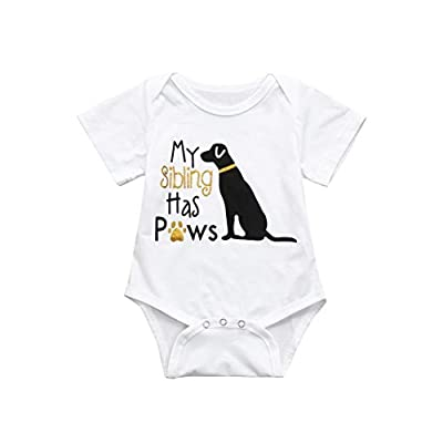 Baby Bodysuit, Infant Funny Onesies Letter Pet Printed - My Sibling Has Paws