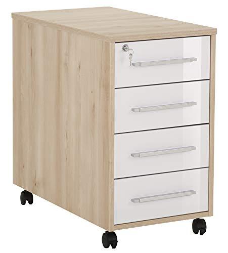 MAJA Möbel System Anstell-Rollcontainer, Holzwerkstoff melaminharzbeschichtet, Edelbuche - weiß Hochglanz, One Size