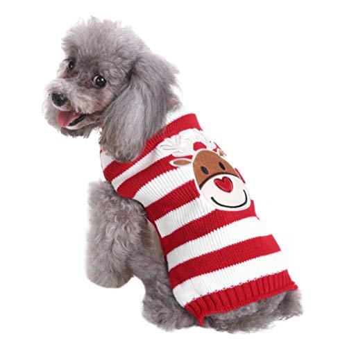 POPETPOP Maglione per Cani di Natale Maglione Dolcevita Lavorato a Maglia Cucciolo Cucciolo Vestiti Invernali Striscia di Alce Costume da Compagnia Vestito Caldo Gilet Cane - Taglia XL