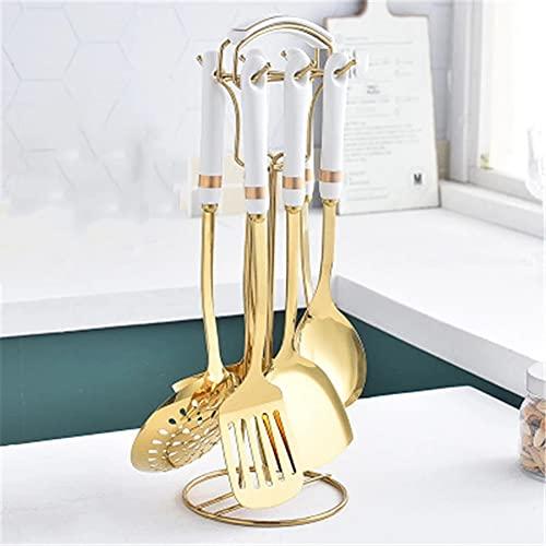 KJHD Estilo nórdico Acero inoxidable Utensilios de cocina Conjuntos de utensilios de cocina Herramientas de cocina Mango de cerámica Encontrar el almacenamiento Metal Shovel Cuchara (Color : 02)