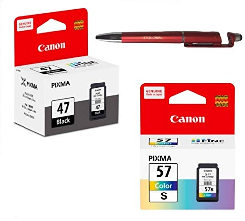 Canon PG 47 & CL 57 Small Ink Cartridge Combo Compatible with PIXMA E400 E410 E417 E460 E470 E477 E480 E3170 E3177 E4270 Printers Bundle with ITGLOBAL 3 in 1 Multi-Function Pen
