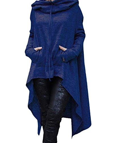 ZongSen Donna Casual Felpe con Cappuccio Maniche Lunghe Sweatshirt Vestito Oversize Lunghe Maglietta Tops Hoodies Blu XXXL
