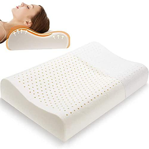 FSJD Cuscino in Lattice - Cuscino in Lattice Ultra Morbido con Rivestimento in Cotone Lavabile in Lavatrice, Cuscino da Letto in Lattice Naturale per Dormire (Torta al Miele)