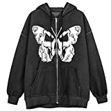 YSWD Womens Skull Zip Up Hoodies Long Sleeve Tops Graphic Oversized Pullovers Sweatshirt Goth with Pockets