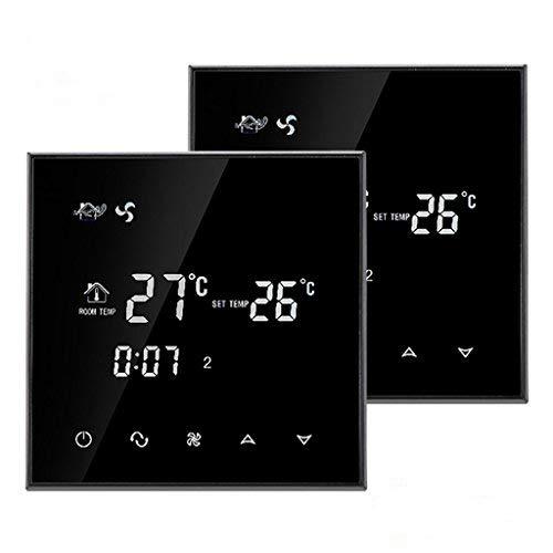 Beok TGT70-AC2 Temporizzatore del Timer Fan Coil Termostato Smart Central Aria Condizionata Temperatura Ambiente Regolatore, 2 Tubi 85-260VAC 50/60HZ 3A, Nero