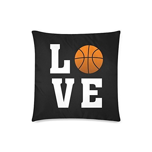 Cool Gift for Basketball FansLove Basketball Cushion Case - Square Pillowcase Cushion Case Throw Pillow Cover with Zipper - 18x18, Twin-sided