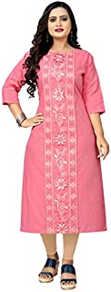 Women's Casual Embroidered Cotton Plus size Kurti