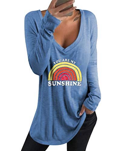 kenoce Camiseta Mujer de Manga Larga Blusa Cuello en V Casual Manga Larga Tshirt Sexy Color Sólido Elasticidad Pullover Blusas T-Azul L
