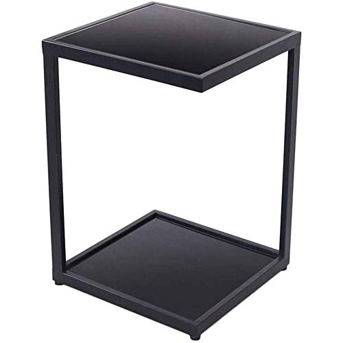 DAKEUR Glass Coffee Table Tempered Glass Boards & Sturdy Chrome Iron Legs-Black Glass End Table Coffee Tea Table Ideal for Home Office