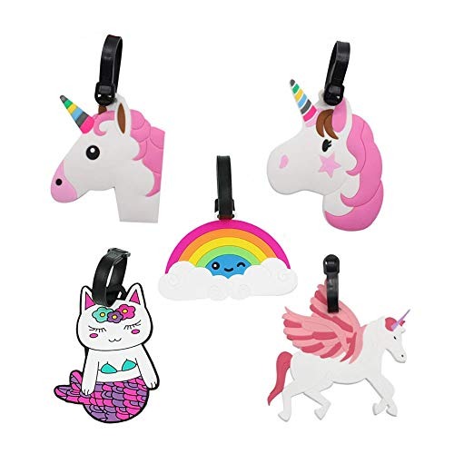 Dusenly 5 x Cute Unicorn Luggage Tags Travel Baggage Tags Suitcase Bag Lables Backpack Identifier Label for Women and Girls