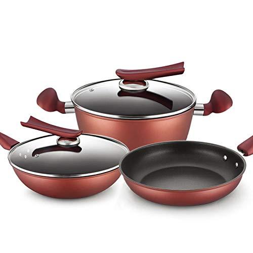 LONGWDS sartén Wok for no fumadores sartén antiadherente Pan Pan Set Juego de regalo de la combinación de utensilios de cocina Cocina