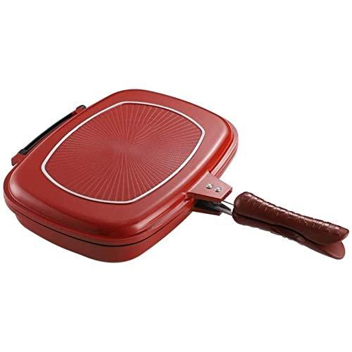 IUYJVR Sartén para Parrilla de Barbacoa de Doble Cara, una sartén Antiadherente portátil para cocinar con Barbacoa con Mango Anti-Quemaduras, para sartén Cuadrada para Tortillas al Aire Libre en la