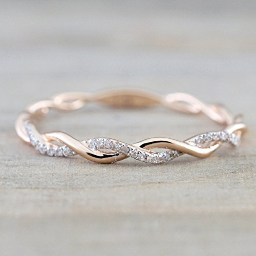 Barogirl Twist Rope Ring Rose Gold Promise Eternity Wedding Rings Band Crystal Engagement Bands for Women and Girls