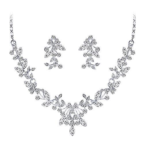 XPT Juego de collar y pendientes para mujer, de moda, para bodas, fiestas, brillantes, flores, collares, pendientes, joyas, accesorios de regalo de plata