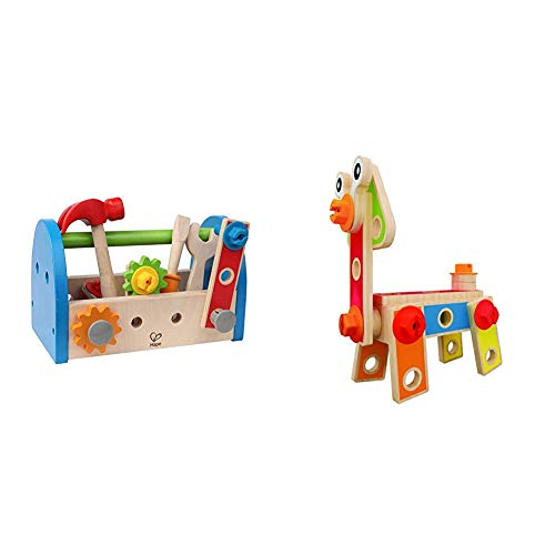 Hape Fix It Kid's Wooden Tool Box and Accessory Play Set & Basic Builder Toddler Wooden Play Set