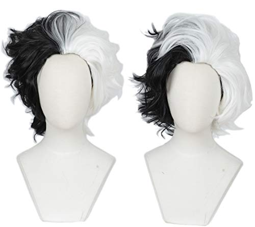 Linfairy Half White and Half Black 2 Tone Wig Halloween Costume Cosplay Wig for Women