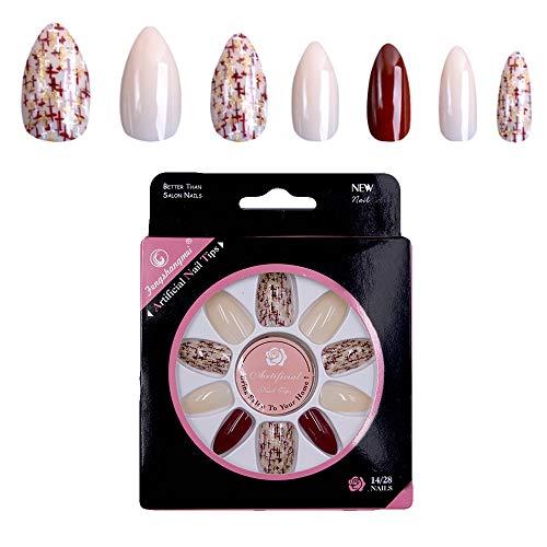 Ebanku Stiletto Falsche Nägel Französisch Blumenmuster, 28 Stück Künstliche Full Cover Acryl Gefälschte Nail Art Tips, für Frauen Mädchen (Mittlere Länge)
