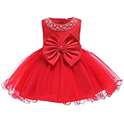 Red01 Tulle Tutu Baby Dress With Sequins With Beads