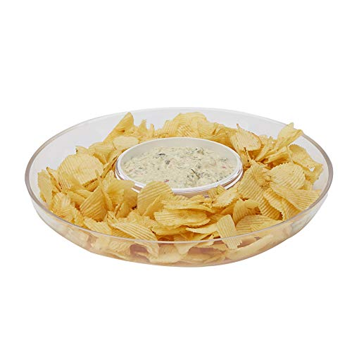 Mind Reader DIPCHIP-CLR Chip & Dip, Acrylic Tinted Snack, Kitchen, Centerpiece, Special Occasion, Countertop Bowl, Clear, One Size