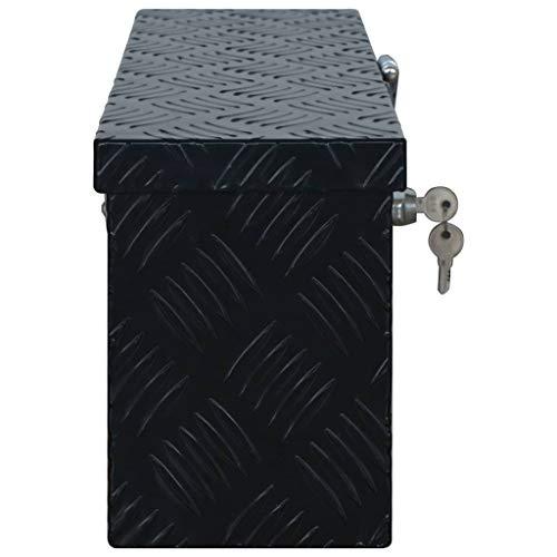 vidaXL Aluminiumkiste Transportkiste Transportbox Werkzeugkiste Werkzeugbox Deichselbox Alubox Alukoffer Lagerbox 485x140x200 mm Schwarz Aluminium - 2