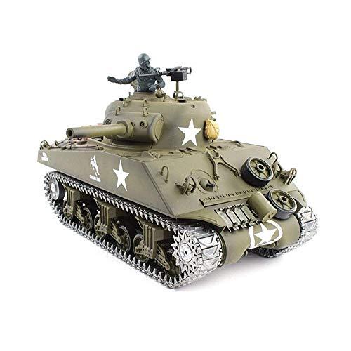 2,4-GHz-Steuerauto US-Militär M4A3 Sherman Tank Elektrische RC Panzer Fernbedienung 1/16 Scale Model Panzer Metal Track Simulierte Schall und Rauch Infrarot Einführung Militär spielt Geschenke