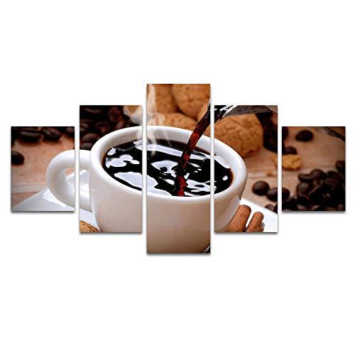 YANGMAN-ART canvas print muur kunst Een kop hete koffie met koffiebonen afbeeldingen schilderijen voor Home Living Room Decor Artwork 5 panelen met ingelijste, klaar om op te hangen