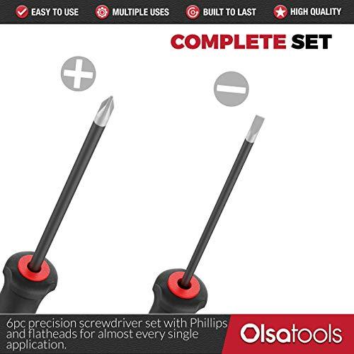 Olsa Tools Precision Screwdriver Set | 6 Pcs Small Mini Screwdriver Set | Comfortable Handle Grip | Premium Quality Micro Screwdrivers | Phillips, Torx, and Flatheads | Non-Slip Grip