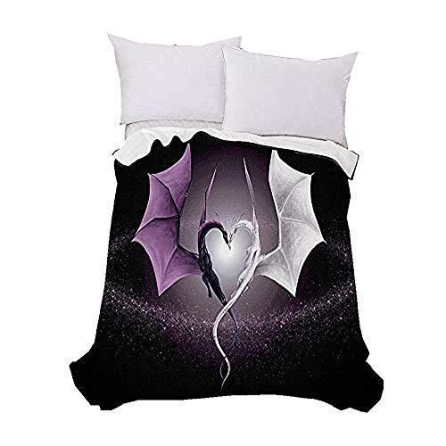 Manta de lana de cordero de poliéster de alta densidad para cama y sofá de cama con diseño 3D de dragón y calavera, cálida y ligera supersuave, sofá cama 150 x 200 cm