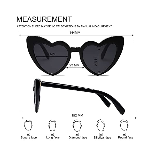 VANLINKER Heart Shaped Sunglasses Clout Goggle Retro Cat Eye Sun Glasses VL9604