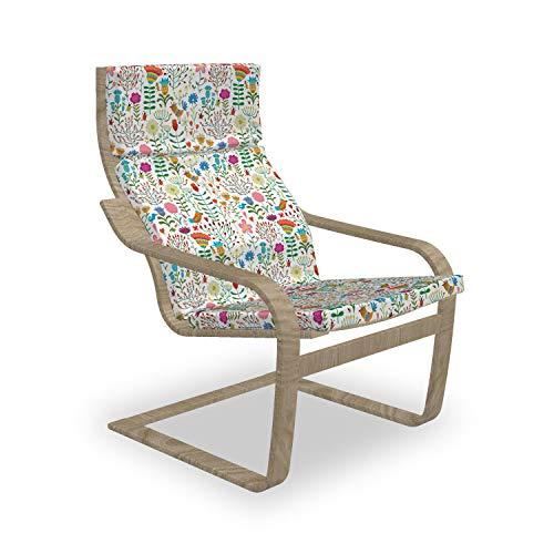 ABAKUHAUS Blumen Poäng Sessel Polster, Doodle Wald Habitat, Sitzkissen mit Stuhlkissen mit Hakenschlaufe und Reißverschluss, Mehrfarbig