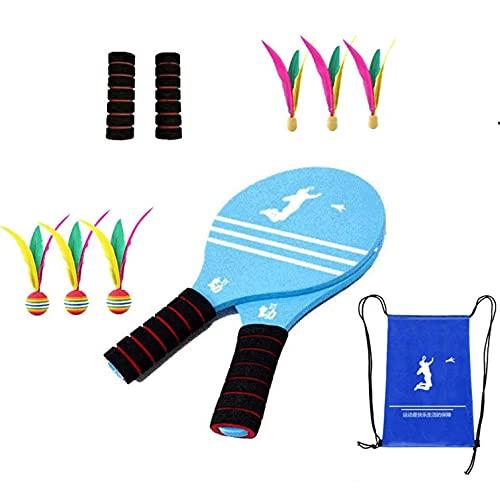Palas Playa Profesionales,Juego Kit De Raquetas Palas Badminton De Playa Con Volantes Cricket ,Juego y Entrenamiento De Familia Niños Oficina Deporte Al Aire Libre