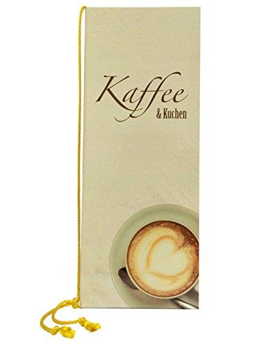 Kaffee & Kuchenkarte mit Kordel | DIN A5 Lang | Speisekarte - Getränkekarte | Kordel: gelb | handgefertigt