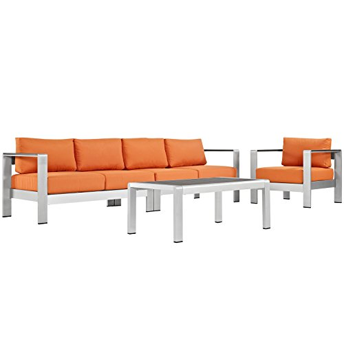 Modway Shore 4-Piece Aluminum Outdoor Patio Sectional Sofa Set in Silver Orange