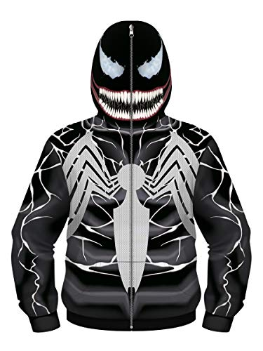 NooobTerrm Sudadera con capucha para chicos y chicas, con cremallera completa Spiderman D 11-12 años (L)