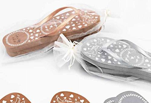 Momparler1870 Chanclas-Flip Flop *Love* Decoradas, Personalizadas y Bolsa Organza de Regalo - Pack 6 Unidades - Regalo Ideal para Eventos