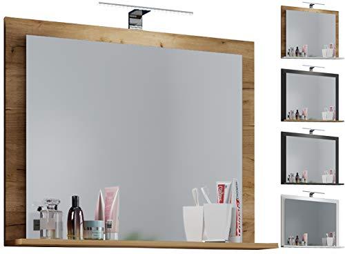 """VCM Spiegel Badspiegel Badezimmerspiegel Wandspiegel Ablage VCB 10\"""" 60, Honig-Eiche"""